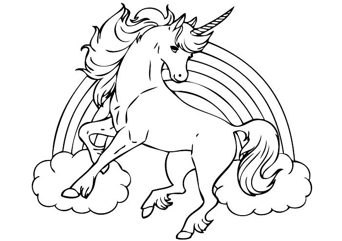 dessin licorne et arc-en-ciel pour coloriage enfants, activité de coloriage sur le thème licorne pour les plus petits