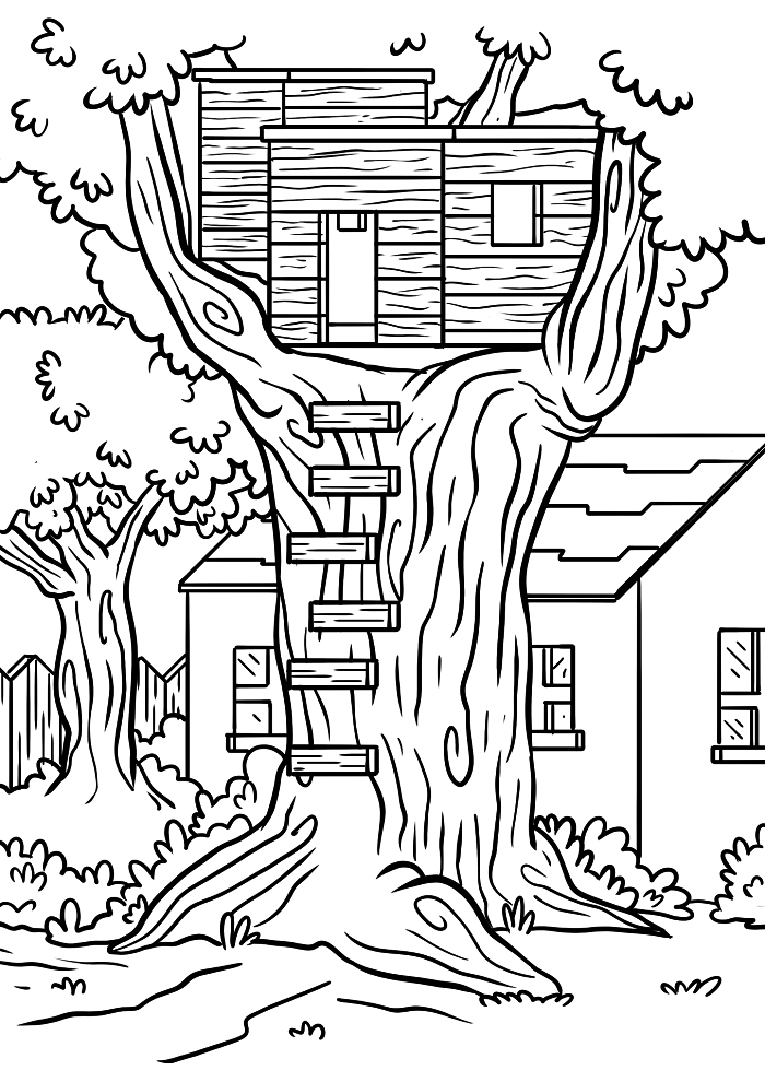 dessin à colorier maison en bois dans l'arbre, coloriage enfant cabane en bois, page à colorier gratuite pour téléchargement