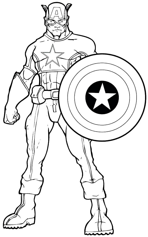 idée coloriage garçon sur le thème super héros, dessin à colorier gratuit super-héros et son bouclier