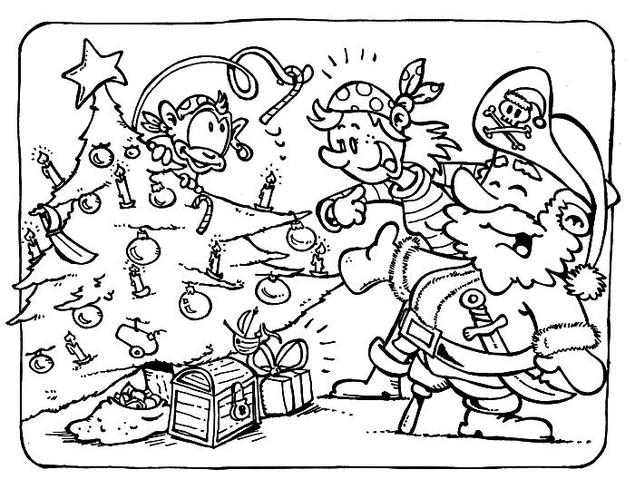 coloriage garçon sur le thème des pirates, coloriage sur le thème noël, dessin à colorier pirates autour de l'arbre de noël