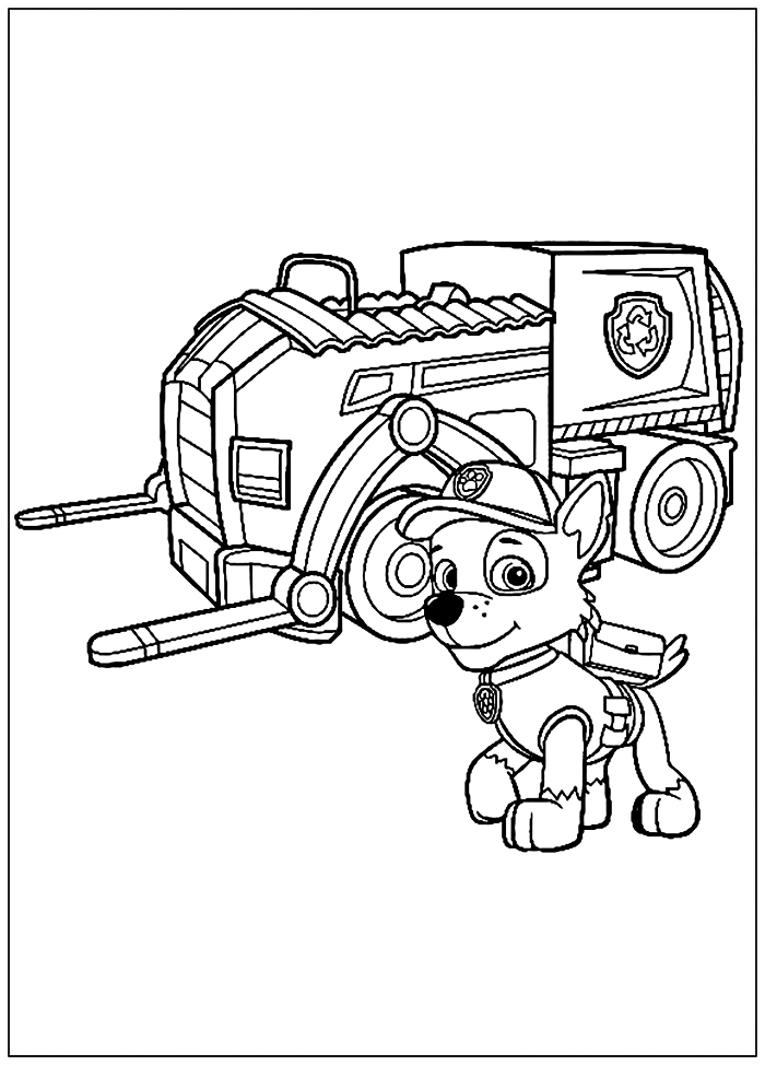 coloriage dessin animé pat patrouille, dessin à colorier gratuit rocky de pat patrouille et son camion de recyclage