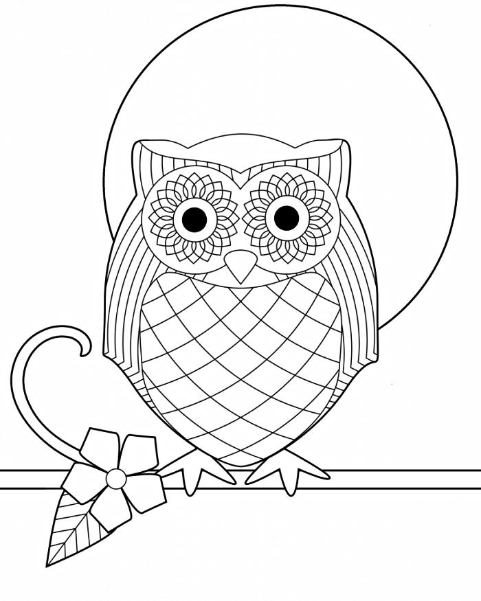 coloriage hibou géométrique perché sur une branche, dessin hibou à imprimer gratuitement et à colorier