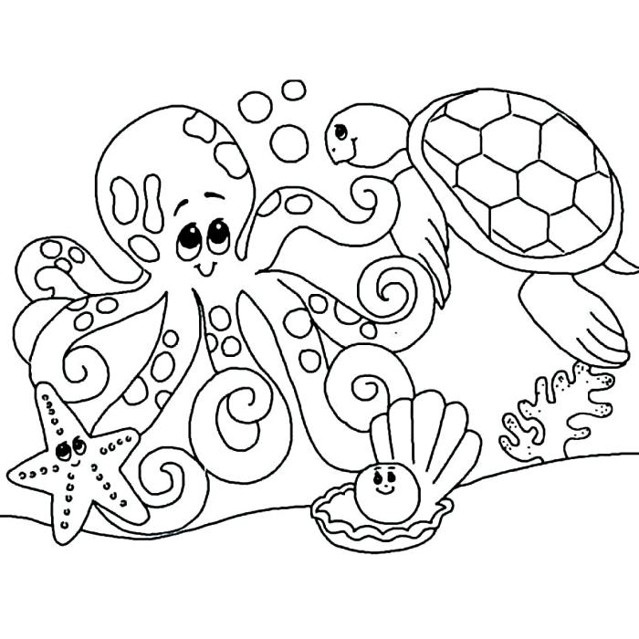 coloriage maternelle les animaux au fond de la mer, coloriage enfant sur le thème de l'océan, dessin à colorier tortue, étoile de mer et pieuvre