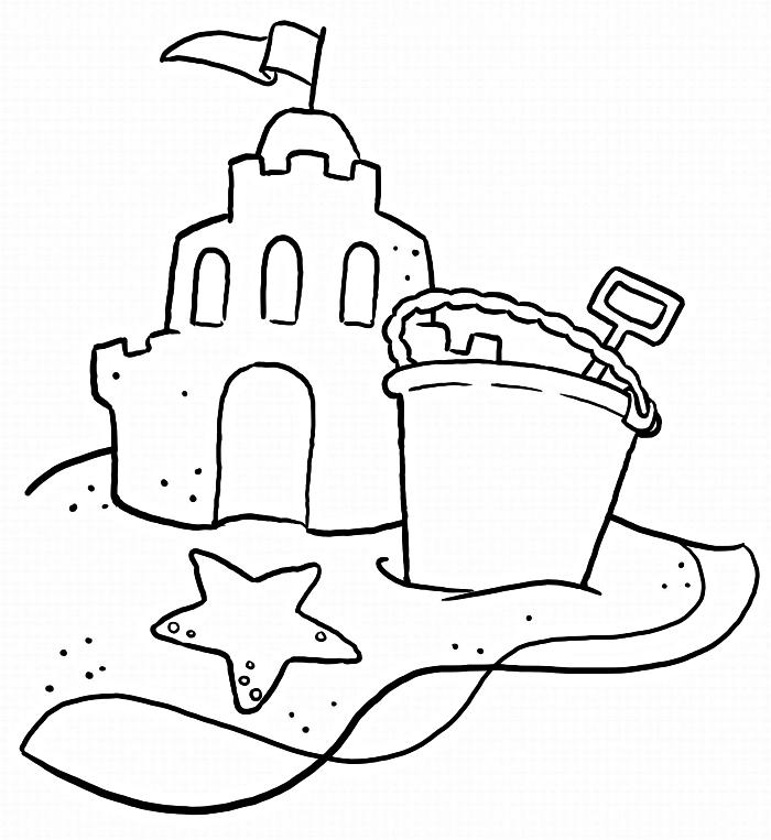 coloriage chateau de sable et seau de plage, dessin à colorier gratuit sur le thème de la plage et des vacances