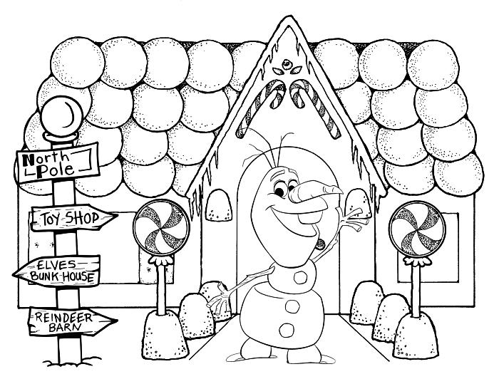coloriage de noël avec le bonhomme de neige olaf et une maison au pin d'épices, dessin a colorier disney la reine des neiges