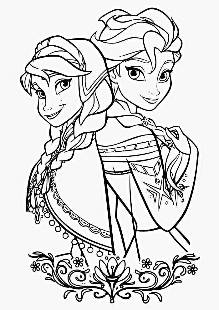 dessin a colorier disney sur le thème la reine des neiges, coloriage anna et elsa de la reine des neiges