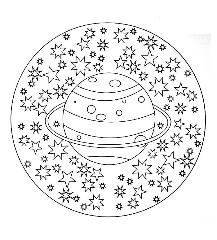 coloriage mandala facile pour enfants sur le thème de l'espace, mandala à colorier étoiles et planète
