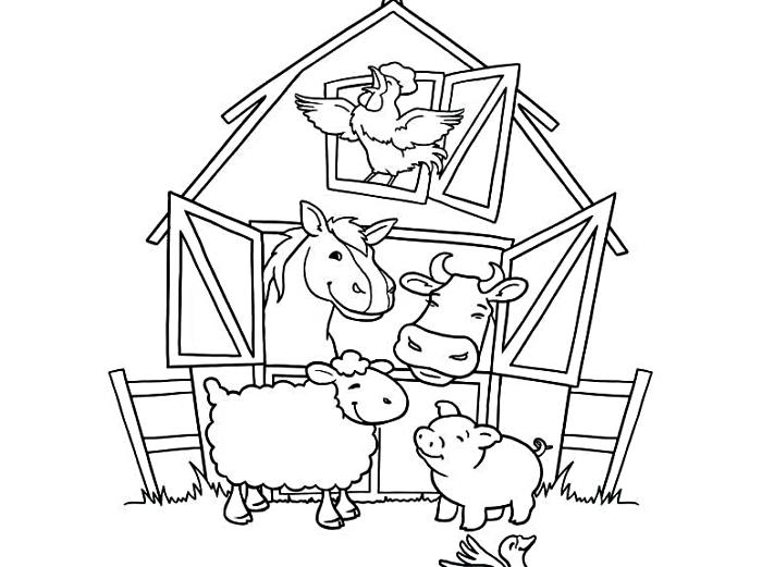 coloriage maternelle sur le thème de la ferme, dessin à imprimer pour coloriage les animaux de la ferme
