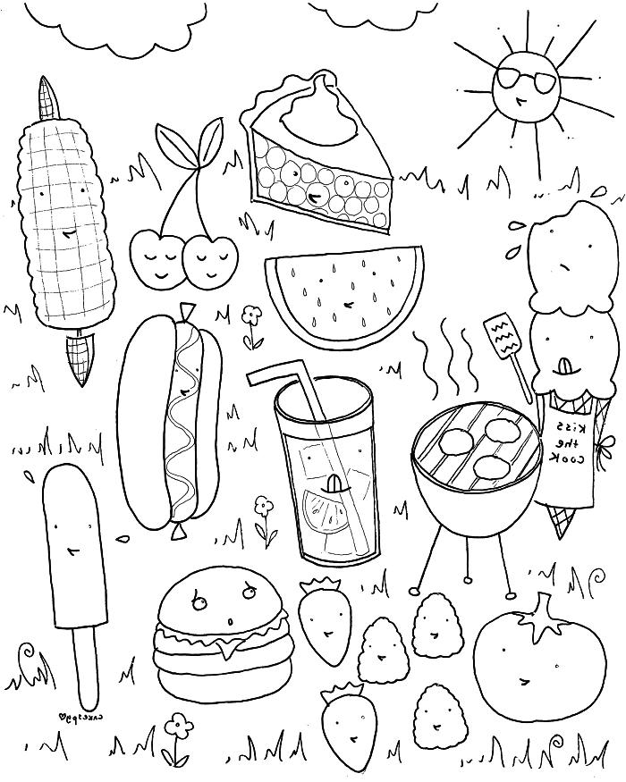 dessin coloriage nourriture kawaii avec nombreux personnages, dessin kawaii à imprimer et à colorier