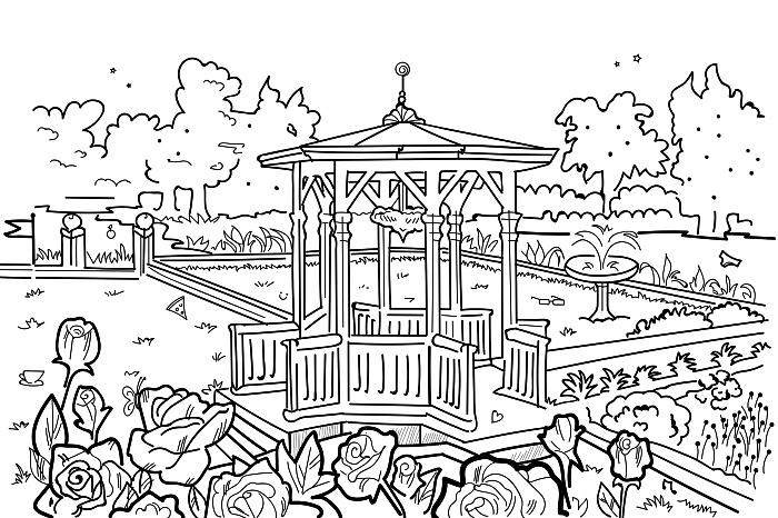 pages à colorier gratuites pour téléchargement, coloriage parc et gazebo entourés d'arbre et de fleurs