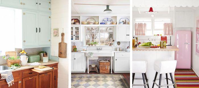Collage avec idées de décoration pour la cuisine rétro, rose pale refrigerateur smeg, cuisine campagne chic, cool idée comment décorer