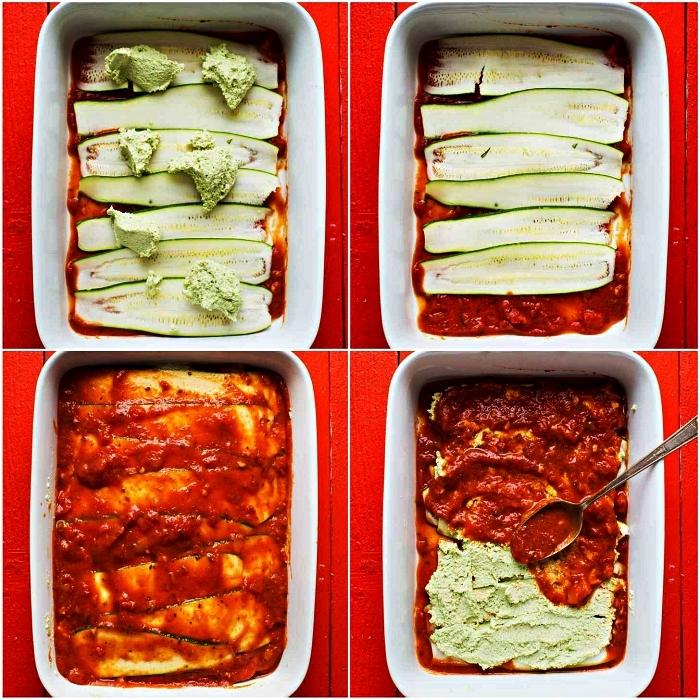 recette avec courgette pour lasagne végétarienne et végétalienne, lasagne aux courgettes, à la ricotta et à la béchamel aux noix de cajou