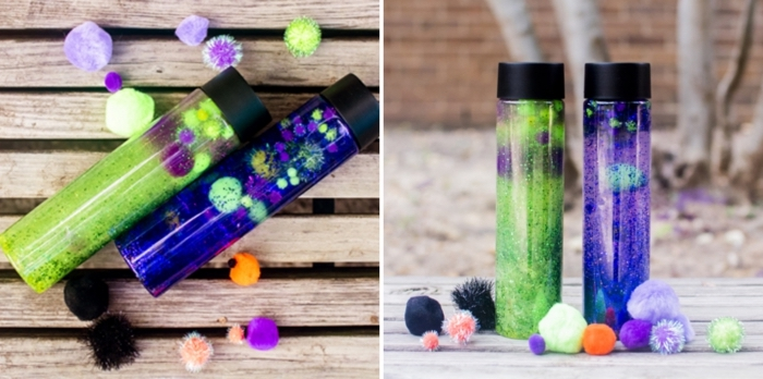 comment faire une bouteille océan remplie d'eau coloré et de figurines animaux marins, idée activité montessori à la maison