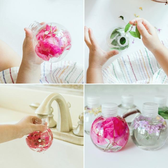 quel méthode pédagogique pour tout petit, modèle de récipient en verre rond rempli de l'eau et de petites fleurs