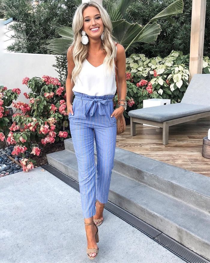 Idée comment s'habiller en tendance été 2019, pantalon et top casual chic femme tendances de 2019
