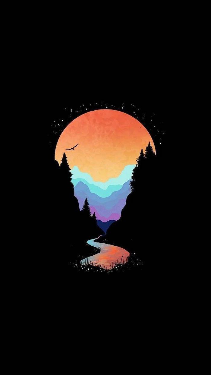 Soleil dessin montagne paysage en nuit, dessin fille swag, image swag moderne idée d'image pour fond d'écran téléphone