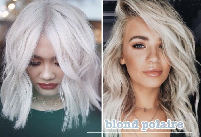 idée maquillage nude pour l'été avec fards à paupières dorés et rouge à lèvre brillant, coiffure à ondulations effet wavy sur cheveux de couleur blonde platine