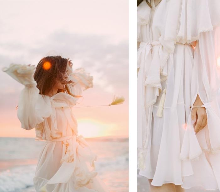 idée robe blanche mi longue avec ceinture et volants, comment bien s'habiller en été avec robe blanche courte