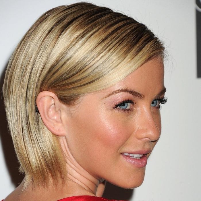 idée coloration avec mèches blonde sur cheveux châtain foncé, exemple coupe carré plongeant court sur cheveux lisses