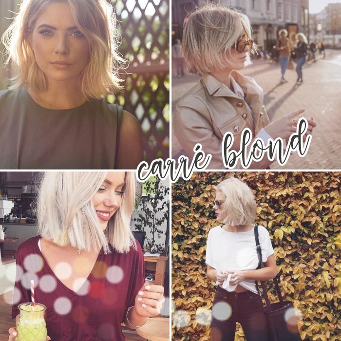 quel type de carré pour visage rond, exemple de coloration mèches blondes sur cheveux châtain foncé, idée tenue été en jeans noirs et t-shirt blanc