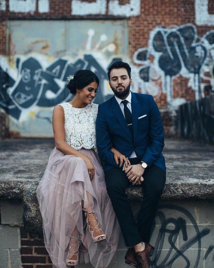 Dentelle top blanc et jupe longue chiffon, robe de soirée cérémonie, robe mariage invité, couple adorable