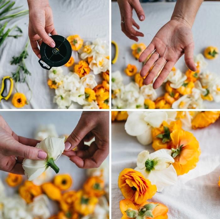 fleurs oranges et blanches enfilé à un fil de pêche, création de guirlande, deco de table anniversaire