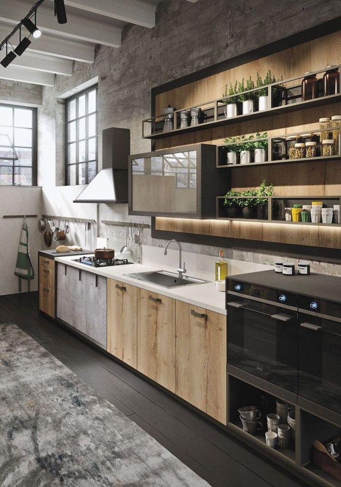 Cuisine bois et noir style industriel, plantes vertes pour un peu plus de charme, apartament moderne design vintage chic
