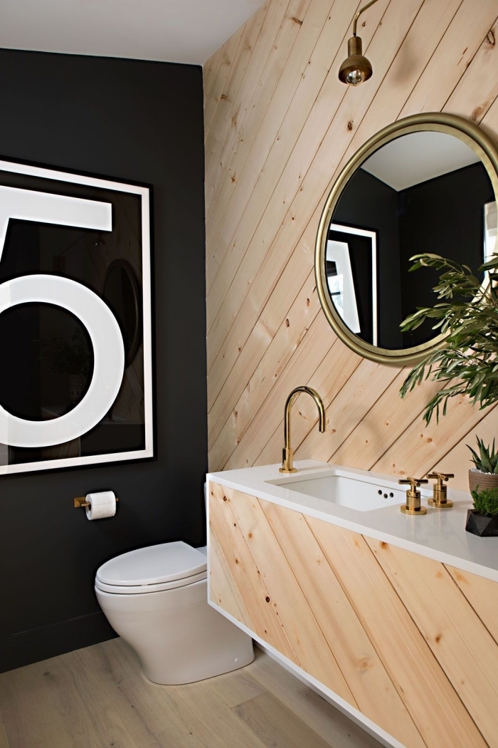 comment aménager une petite salle de bain à design contemporain, exemple de meuble salle de bain bois avec comptoir blanc