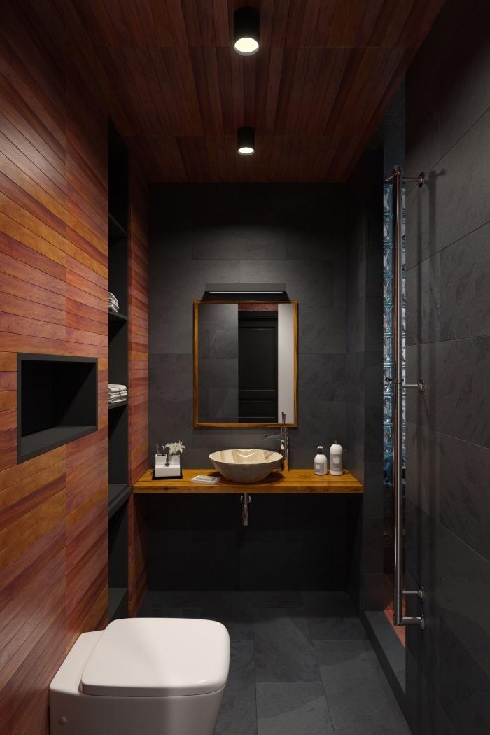 design contemporain petite salle de bain foncée, modèle salle de bain bois foncé et noir avec cuvette wc en blanc