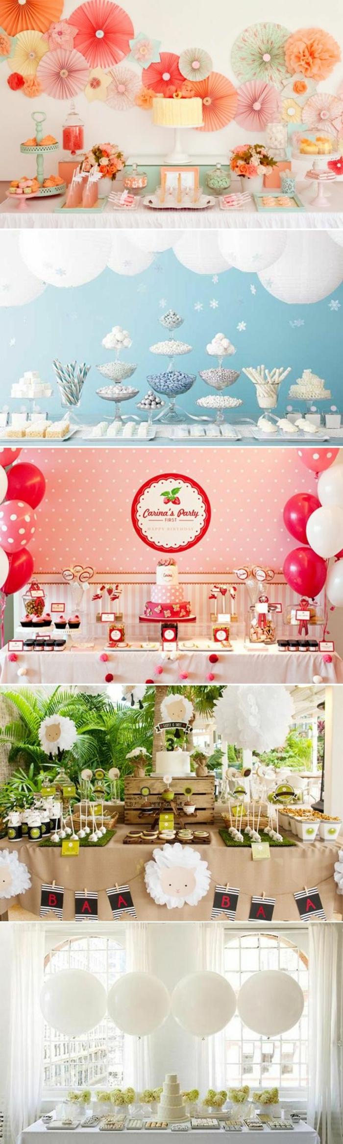décoration table avec pinatas, lanternes en papier, ballons rouges et blancs, plantes, pelouse artificielle, deco de table anniversaire