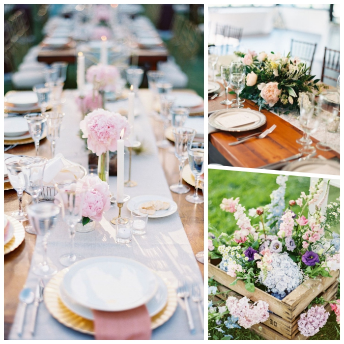 chemin de table blanc, vases longues avec fleurs roses, table en bois, décoration table mariage bohème