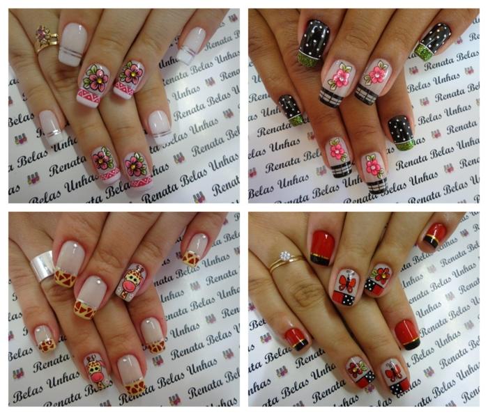 déco ongle florale et déco des ongles avec motifs animaux, pois, bands adhésives