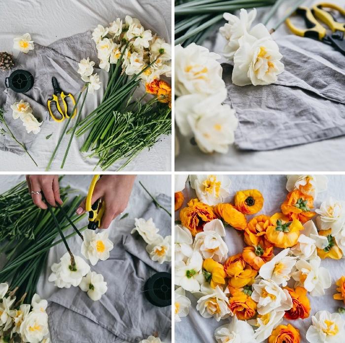 déco florale de table, deco salle a manger et table de fête, ciseaux, brins de fleurs printanières
