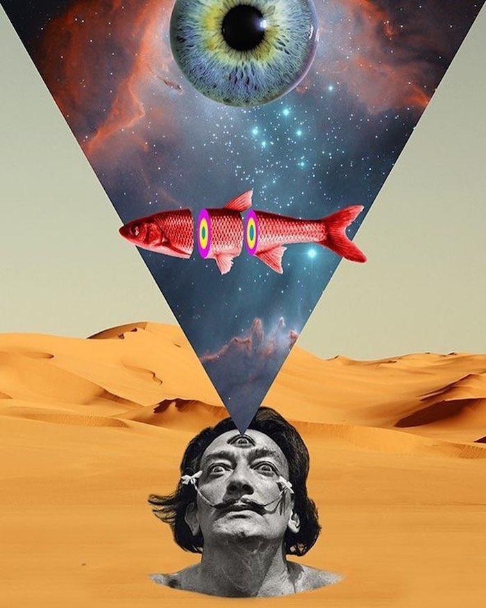 Salvador Dali tete collage, fille swag dessin, image extraordinaire, le style de la rue, abstrait paysage