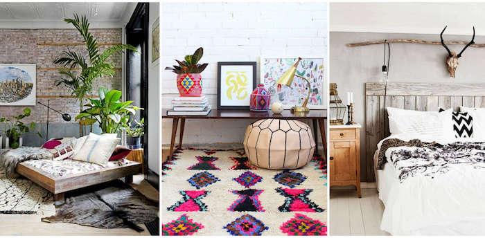 Maison moderne coloré deco pouf sol sur tapis berbere, coussin berbere, deco boheme chic, plante verte décorative