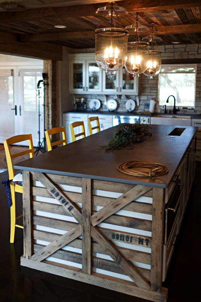 cuisine en bois de style rustique avec îlot central bar en bois de palette, meuble en bois de palette pour cuisine