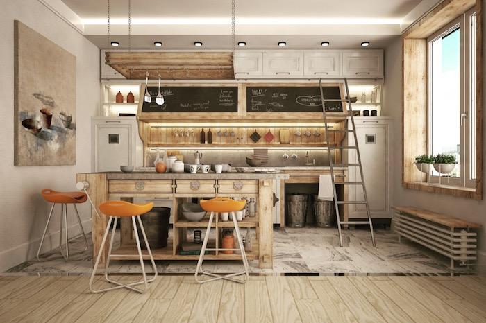 Tout en bois vieilli pour la cuisine vintage, echelle pour les cabinets hauts, belle cuisine ancienne, comment designer une cuisine