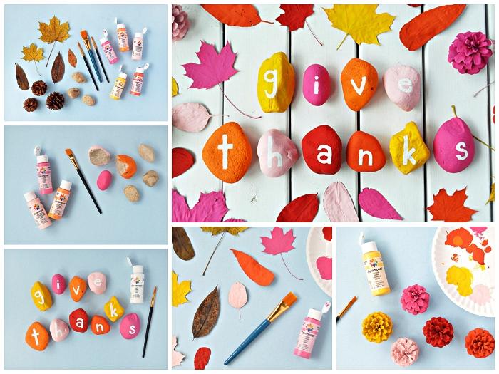 bricolage d'automne pour petits et grands, décoration de table en galets de couleurs différentes, bricolage sur le thème d'automne