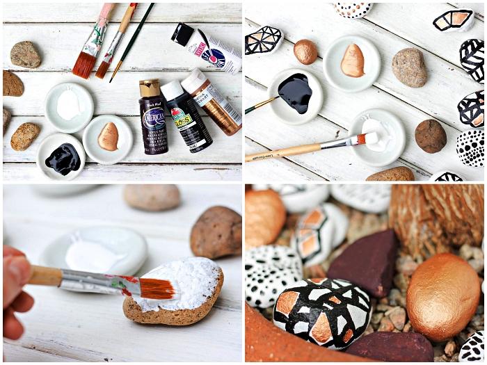tuto facile pour peindre un galet avec de la peinture acrylique, idée deco galet graphique à mettre dans vos pots de fleurs