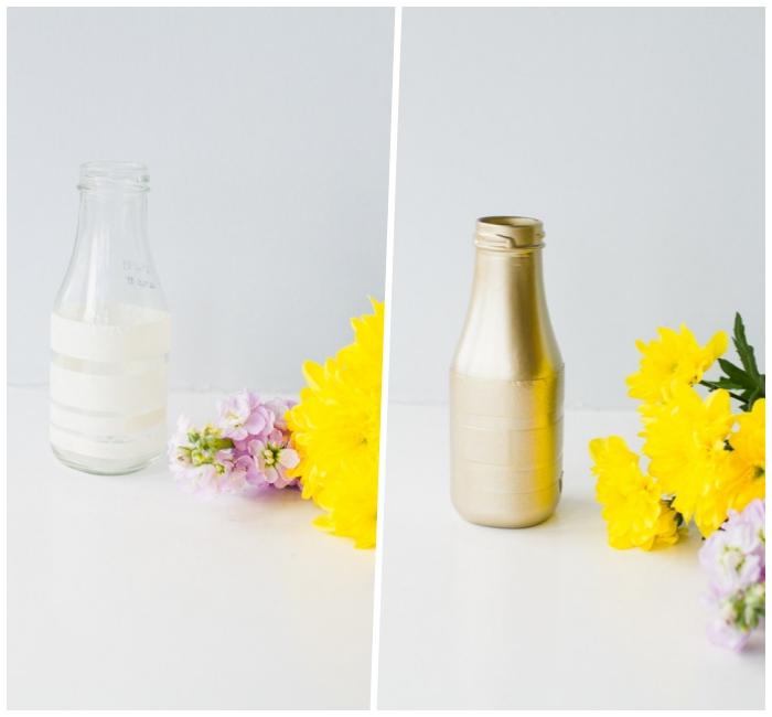 decoration table anniversaire avec vases diy at fleurs fraîches, petit bouquet de fleurs jaunes et mauves
