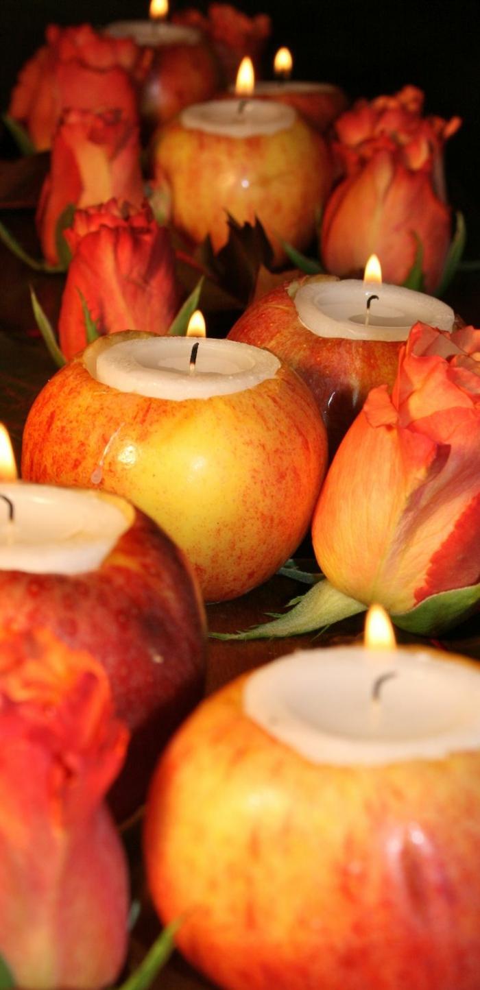porte bougies originaux, déco table à manger avec les épluchures des pommes, déco à effet naturel