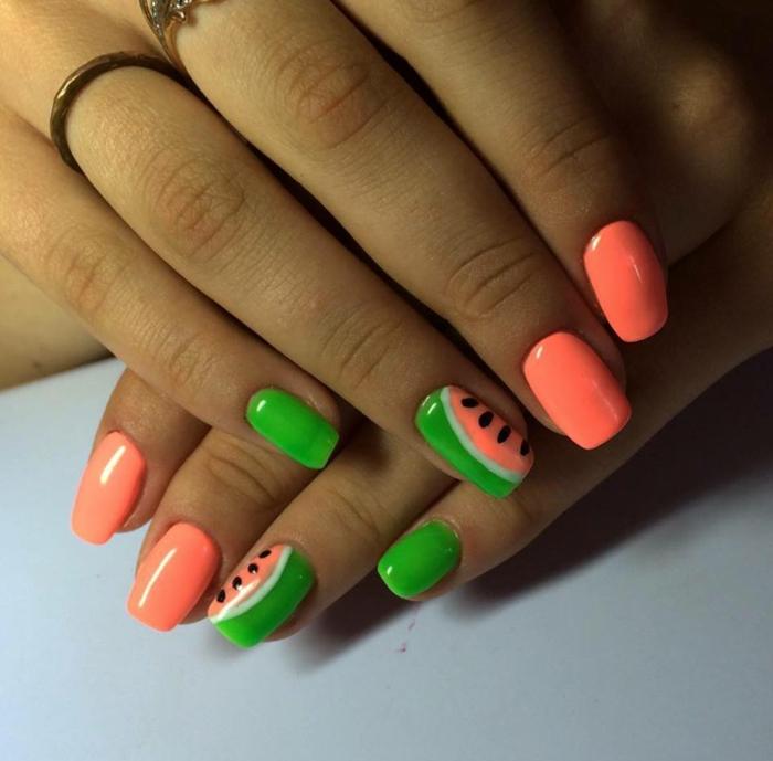 deco ongles en vert et corail, dessin ongle melon d eau, manucure été acidulée, ongles carrés