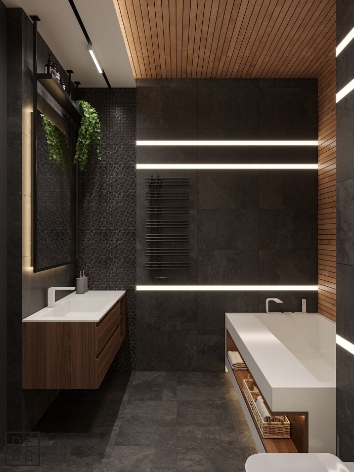 idée comment aménager une salle de bain contemporaine en couleurs foncés, modèle meuble salle de bain bois et blanc