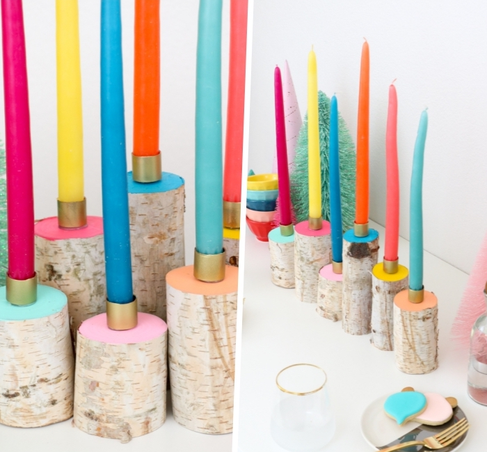 bougeoirs en branches décorée de peintures acryliques, bougies multicolores, table blanche, decoration de table diy