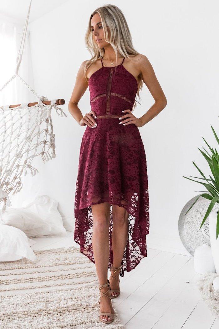 Dentelle robe rouge bordeau, tenue pour assister à un mariage, robe femme habillée, femme bien habillée