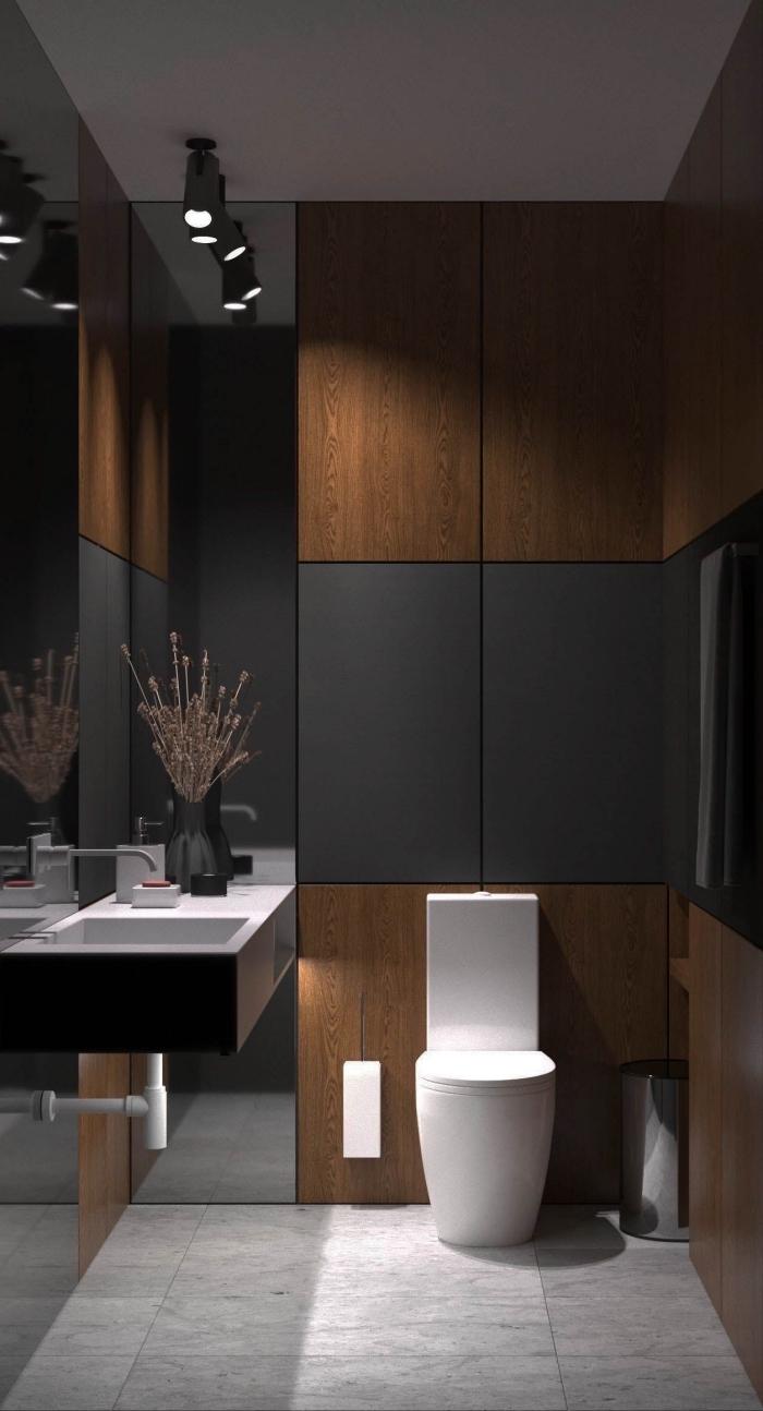 décoration petite salle de bain contemporaine avec panneaux en gris anthracite, modèle carrelage sol à imitation marbre