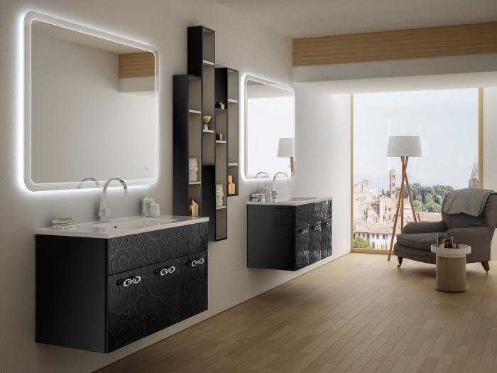 décoration salle de bain blanc et bois avec meubles en noir, idée rangement mural pour salle de bain avec étagère noir et blanc