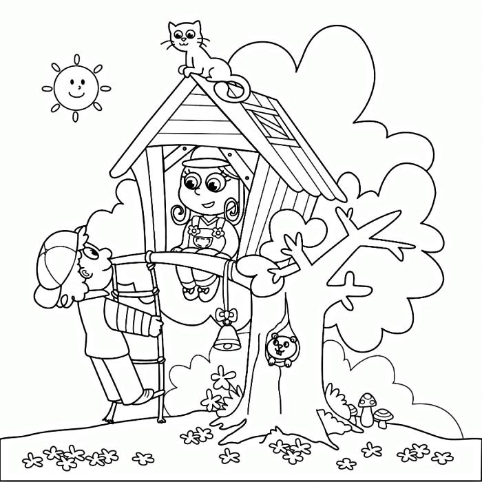 pages à colorier gratuites sur le thème de jeu, dessin à colorier enfants jouant dans une maison sur l'arbre