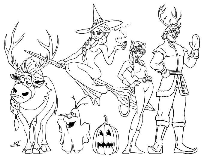 page à colorier avec les personnages de la reine des neige déguisés en costumes de halloween, dessin a colorier disney sur le thème reine des neige