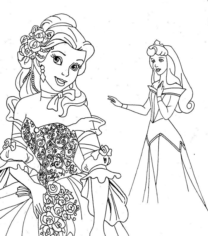dessin a imprimer disney avec princesses, coloriage disney gratuit belle et la belle au bois dormant